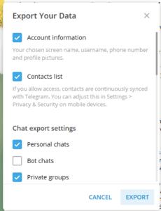 telegram export data