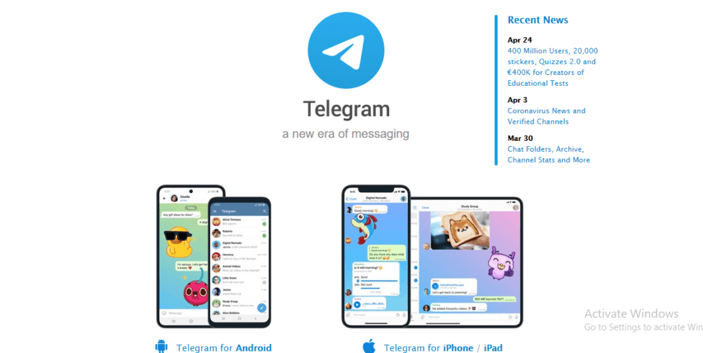 Telegram home page