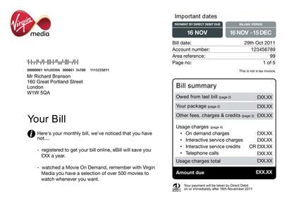 Virgin Media Area Reference Bill