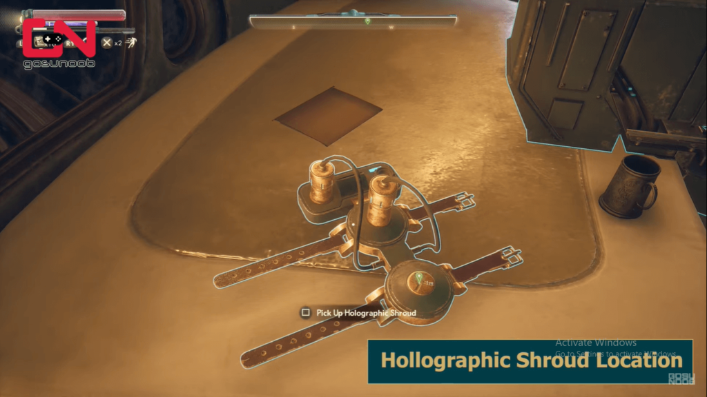 Holographic shroud location