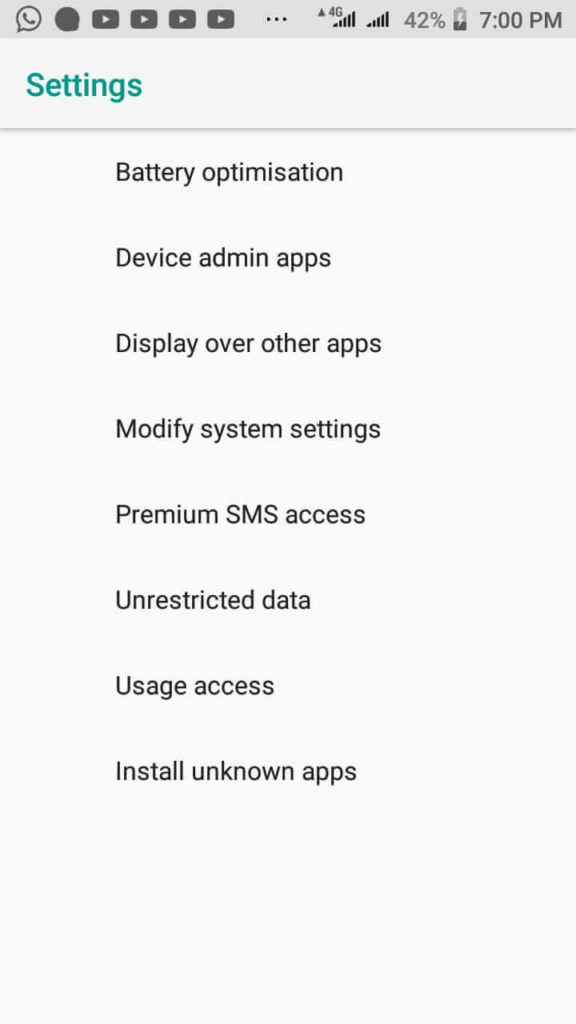 Android apps and notifications settings